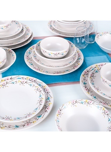 Keramika Keramika 24 ParÇa İlkbahar ÇiÇekleri Yemek Takımı Renkli